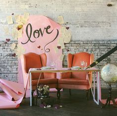 pink 'love' backdrop - so cute!