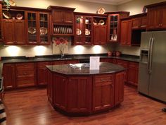 Maximize your kitchen space when you install our custom cabinets. Contact us in Fishers, IN, for our home improvement service. Cherry Wood Kitchen Cabinets, Cherry Wood Kitchens, Kitchen Cabinet Design, Modern Kitchen Design, Elegant Kitchens, Luxury Kitchens, Home Kitchens, Kitchen Benches, Rustic Kitchen