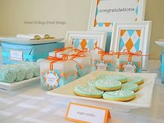 orange and teal baby shower
