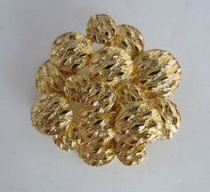 Vintage West Brooch Pin Round Cluster Design Gold Tone Metal Signed Circa 1960's