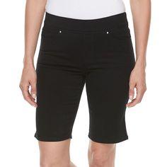 Petite Croft & Barrow® Pull-On Bermuda Shorts, Women's, Size: 16 Petite, Black