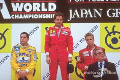 Podium: race winner Gerhard Berger, Ferrari, second place Ayrton Senna, Team Lotus, third place Stefan Johansson, McLaren, with Jean-Marie Balestre, FIA President