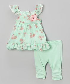 Look at this Nannette Baby Mint & Pink Floral Angel-Sleeve Dress & Leggings - Infant on #zulily today!