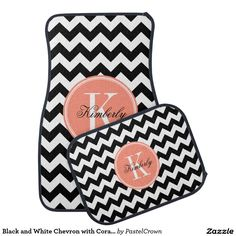 Black and White Chevron with Coral Monogram Car Floor Mat