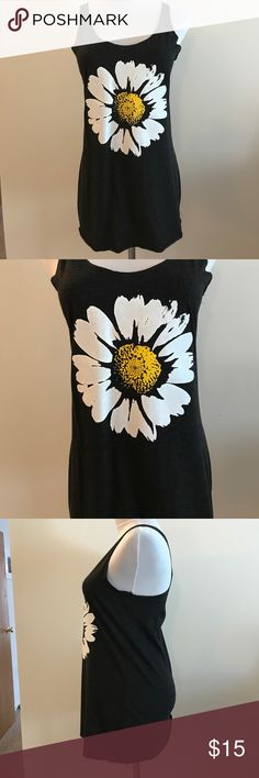 Daisy Tri-Blend Racerback Tank Beautiful black tri-blend racerback tank with daisy design. Worn once and tag is cut out but still in excellent condition. Perfect for summer or layering under a cardigan. Next Level Tops Tank Tops