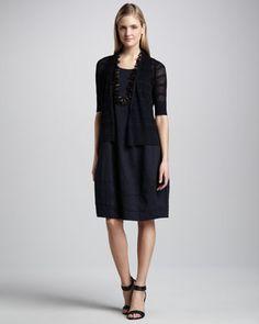 Linen Striped Cardigan & Sleeveless Lantern Dress by Eileen Fisher at Neiman Marcus.