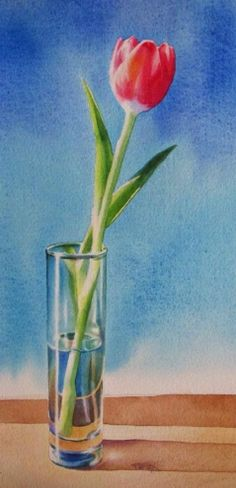 WELCOME SPRING tulip still life watercolor painting -- Barbara Fox