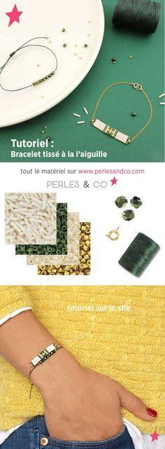 Apprenez à tisser un bracelet sans métier à tisser avec des perles Miyuki Slender bugles et perles Delicas.