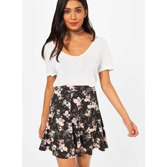 Miss Selfridge Black Floral Skater Skirt ($21) ❤ liked on Polyvore featuring skirts, black, miss selfridge skirts, floral circle skirt, floral knee length skirt, rayon skirt and floral printed skirt