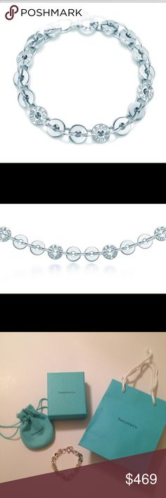 """Tiffany & Co. 1837 Circle Bracelet (NEW)$500 Value Proudly inscribed with the year Tiffany was founded, the Tiffany 1837 collection is defined by sleek curves and contours. Circular links lend a contemporary edge to this classic style. Sterling silver Size medium 7.25"""" long $500 at Tiffany&Co. (Check online yourself) Comes with Tiffany&Co. Jewelry Bag, Jewelry Box, and Shopping Bag (as seen in pictures  Brand NEW- never used!   Question please ask!  This is a great gift for the holidays…"""
