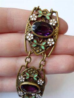 Antique Arts Crafts Nouveau Floral Brass Amethyst Purple Paste Enamel Bracelet