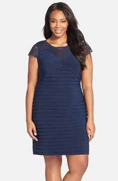 Adrianna Papell Corded Yoke Pleat Jersey Sheath Dress (Plus Size) available at #Nordstrom