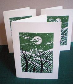 Print Your Own Seasonal Greetings Cards Using Linocut  Finished image with foreground and background.