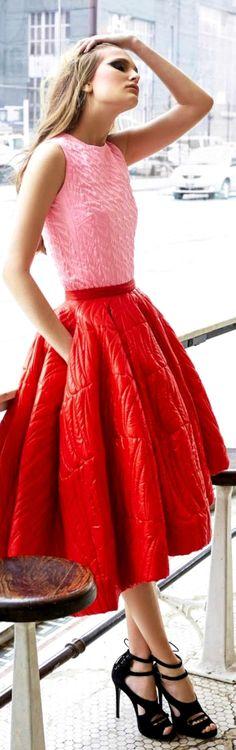 pink knit tank + bright red full midi ballerina skirt + heels | spring primavera style