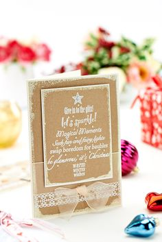 Woodware combine kraft card and glitz this month... / Crafts Beautiful November 2014