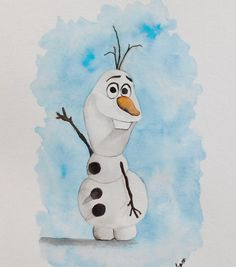Original Watercolor Painting Olaf  Disney Frozen by pinetreeart