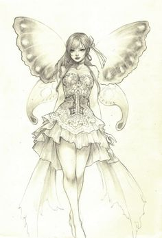 Fairy girl by Jasmin Darnell Fairy Coloring, Colouring Pages, Adult Coloring Pages, Drawing Sketches, Pencil Drawings, Art Drawings, Fairy Art, Amazing Art, Art Reference