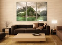 Tracy Arm Alaska Glacier Canvas Print 3 Panels Print Wall Decor Fine Art Nature Photography Repro Print for Home and Office Wall Decoration by ZellartCo TAGS alaska tracy arm mountain surreal glacier mountain snow fjord mythical decor landscape nature canvas print wall art