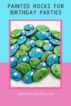These happy, brightly painted rocks make wonderful birthday party favors! #birthdayparty #partyfavors #paintedrocks #paintedstones