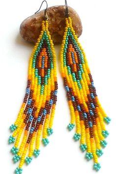 Ethnic Style Earrings-Seed Bead Extra Long Dangle от Galiga