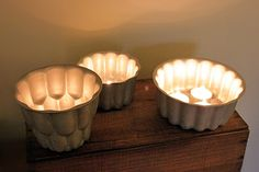 New Wives Club using vintage jelly moulds as tealight holders - The Natural Wedding Company Tea Light Lanterns, Tea Lights, Recycled Decor, Repurposed, Jello Cake, New Wife, Wedding Company, Inspiring Things, Jelly Moulds