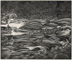 H. Eric Bergman (German/Canadian, 1893-1958). Whirling Water. 1939. (wood engraving)