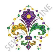 MARDI GRAS Fleur de lis & Beads Embroidery Design by SewingDivine