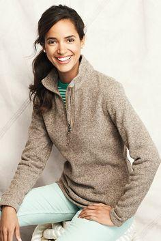 Women's Sweater Fleece Half-zip from Lands' End with monogram
