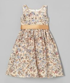 Look at this #zulilyfind! Gold & Blue Floral A-Line Dress - Toddler & Girls by L'etoile #zulilyfinds