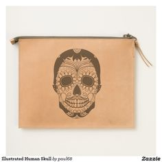 Illustrated Human Skull Travel Pouch