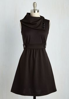 Coach Tour Dress in Noir - Black, Buttons, Pockets, Casual, A-line, Sleeveless, Best Seller, Cowl, Work, Winter, Basic, Fall, Nautical, Maternity, Full-Size Run, Good, 4th of July Sale, Top Rated, Mid-length