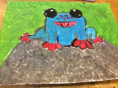 Blauwe kikker schets