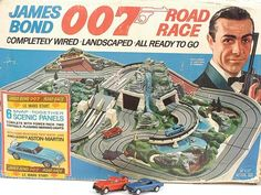 Gilbert 1965 James Bond 007 Road Race Set featuring the Aston Martin The elaborately produced toy was quite expensive in the day and sold only in . Cars 1, Slot Cars, Bond Cars, Retro Toys, Vintage Toys, Vintage Games, 1960s Toys, Antique Toys, Pinup Art