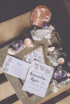 We love the combination of rocks, crystals and candles. Source: Swooned Magazine #crystals #weddingdecor