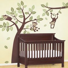 Three Monkey Tree and Branch Vine Wall Decal
