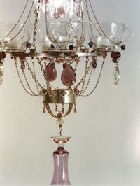 """quartet chandelier made with recycled """"junk"""" by Madeleine Boulesteix. Genius!"""