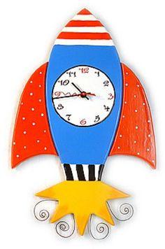 Rocket Ship Wooden Wall Clock Monstermarketplacecom Clock Craft, Diy Clock, Abc Wall, Rockets For Kids, Unicorn Valentine, Arte Country, Clock For Kids, Crafts For Kids, Diy Crafts