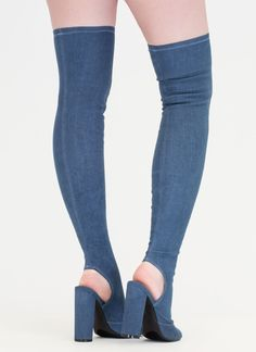 ce71b92c158 Jean Sweep Chunky Thigh-High Boots BLUE