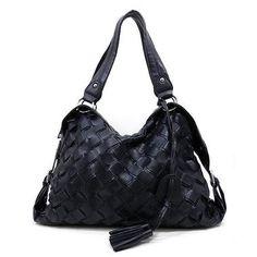 New Black Designer Basket Weave Handbag/Purse, $45