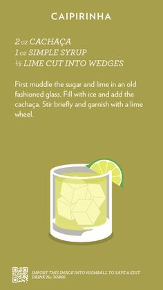 Caipirinha Cocktail Recipe #everivyclothing #food #drink #cocktail #alcohol #beverage #tgif #recipe #diy #bar #bartender
