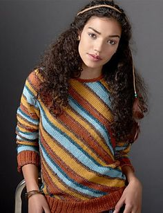 Diagonal Stripes Sweater by Patons