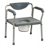 Assembled * Accomodates individuals up to 650 Lbs. * Large padded backrest provides patient comfort * Durable 1 steel tubing is sturdy and easy to maintain * Large durable snap-on seat * Comes complete with commode bucket cover and splash shield * Limited Lifetime Warranty * Width between arms: 24 * Adjustable height 27x27x27 * Seat depth: 18« * Seat is not removable * Dimensions of opening: 10 D x 8 W