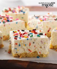 Barres sans cuisson façon gâteau d'anniversaire au fromage #recette
