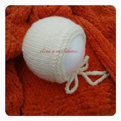 Capota bebé de 0-3 meses de lana merino color crema, realizado por https://elenaysuslabores.blogspot.com.es