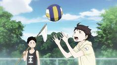 iwaizumi, oikawa, children, gif, practicing volleyball, anime, s1