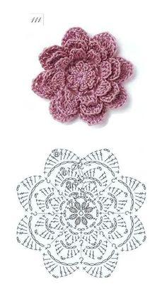 Discover thousands of images about Crochet: Irish lace Diy Crochet Flowers, Yarn Flowers, Crochet Lace Edging, Crochet Leaves, Knitted Flowers, Crochet Diagram, Crochet Chart, Rose Flowers, Patron Crochet