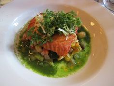 Seared Organic Salmon   w/ ratatouille and a tomato basil broth- Balthazar NYC