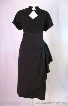 Vintage 40s Film Noir Dress Black Beaded Draped Large bust 41 at Couture Allure Vintage Clothing