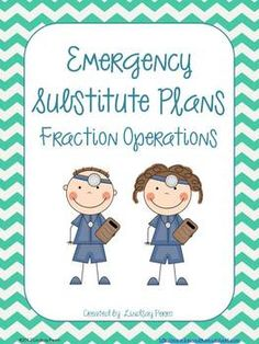 This packet will provide you with at least one day of emergency substitute plans. If you are going to be out for multiple days, I've included a cover page to make packets for each student. Copy in advance and keep in a folder in your desk or the office - just in case!