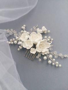 Peine del pelo de novia perla pedazo del pelo novia peine del